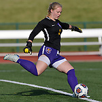 Rosati-Kain goalkeeper Analiese Wilmsmeyer drives the ball downfield. Notre Dame High School (Cape Girardeau) defeated Rosati-Kain in the Class 2 girls quarterfinal game played at St. Louis University High School in St. Louis, MO on Wednesday May 22, 2019.<br /> Tim Vizer/Special to STLhighschoolsports.com