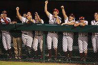 25 October 2007: Stanford Cardinal Becky McCullough, Christina Puno, Rosey Neill, Shannon Koplitz, Missy Penna, Michelle Smith, Autumn Albers, Erin Howe during Stanford's 5-4 loss in seven innings against the San Jose State Spartans at Boyd & Jill Smith Family Stadium in Stanford, CA.