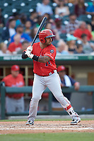 Christian Colon (14) of the Louisville Bats at bat against the Charlotte Hornets at BB&T BallPark on June 22, 2019 in Charlotte, North Carolina. The Hornets defeated the Bats 7-6. (Brian Westerholt/Four Seam Images)