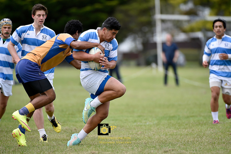 Action from the College Rugby Sevens - U15 Rugby Sevens Tournament at Naenae College, Lower Hutt, New Zealand on Saturday 21 November 2015.<br /> Photo by Masanori Udagawa. <br /> www.photowellington.photoshelter.com.