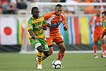 14 May 2010: Tampa Bay's Pascal Milien (HAI) (14) and Carolina's Matt Watson (ENG) (8). The FC Tampa Bay Rowdies defeated the Carolina RailHawks 2-1 at WakeMed Stadium in Cary, North Carolina in a regular season U.S. Soccer Division-2 soccer game.