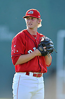 Starting pitcher Logan Boyd (39) of the Greenville Drive warms up before a game against the Augusta GreenJackets on Friday, June 10, 2016, at Fluor Field at the West End in Greenville, South Carolina. Greenville won, 5-4. (Tom Priddy/Four Seam Images)