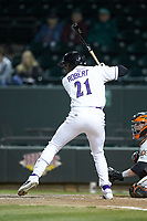 Luis Robert (21) of the Winston-Salem Dash at bat against the Frederick Keys at BB&T Ballpark on April 26, 2019 in Winston-Salem, North Carolina. The Keys defeated the Warthogs 7-0. (Brian Westerholt/Four Seam Images)