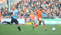 Blackpool's Curtis Tilt under pressure from Southend United's Simon Cox<br /> <br /> Photographer Kevin Barnes/CameraSport<br /> <br /> The EFL Sky Bet League One - Blackpool v Southend United - Saturday 9th March 2019 - Bloomfield Road - Blackpool<br /> <br /> World Copyright © 2019 CameraSport. All rights reserved. 43 Linden Ave. Countesthorpe. Leicester. England. LE8 5PG - Tel: +44 (0) 116 277 4147 - admin@camerasport.com - www.camerasport.com