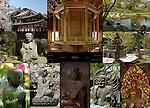 Hasedera Hase Kannon Temple:  Kannon-do, Rinzo Sutra Wheel, Hojo-ike Pond. Stone Monument, Zochoten, Jikokuten, Taishakuten, Jizo Bosatsu, Taishakuten, Benten (Benzaiten), Fudo Myoo, Yakuyoke Amida Nyorai, Composite image, Hasedera, Kamakura, Japan