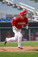 Auburn Doubledays second baseman Dalton Dulin (4) runs to first during a game against the Batavia Muckdogs on September 7, 2015 at Falcon Park in Auburn, New York.  Auburn defeated Batavia 11-10 in ten innings.  (Mike Janes/Four Seam Images)