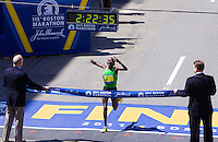 Caroline Kilel winning the 115th. Boston marathon with a time of2:22:36 on Monday, April 18th., 2011. Photo by Errol Anderson, The Sporting Image.net