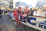 Alexander Kristoff (NOR) Team Katusha makes his way to the start line for the 101st edition of the Tour of Flanders 2017 running 261km from Antwerp to Oudenaarde, Flanders, Belgium. 26th March 2017.<br /> Picture: Eoin Clarke | Cyclefile<br /> <br /> <br /> All photos usage must carry mandatory copyright credit (&copy; Cyclefile | Eoin Clarke)