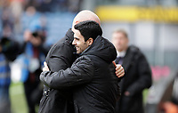 2nd February 2020; Turf Moor, Burnley, Lanchashire, England; English Premier League Football, Burnley versus Arsenal; Arsenal manager Mikel Arteta embraces Burnley manager Sean Dyche  - Strictly Editorial Use Only. No use with unauthorized audio, video, data, fixture lists, club/league logos or 'live' services. Online in-match use limited to 120 images, no video emulation. No use in betting, games or single club/league/player publications