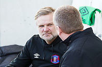 Steven Pressley Manager of Carlisle United in conversation before Colchester United vs Carlisle United, Sky Bet EFL League 2 Football at the JobServe Community Stadium on 23rd February 2019