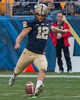 Pitt place kicker Chris Blewitt. The Georgia Tech Yellow Jackets defeated the Pitt Panthers 56-28 at Heinz Field, Pittsburgh Pennsylvania on October 25, 2014.