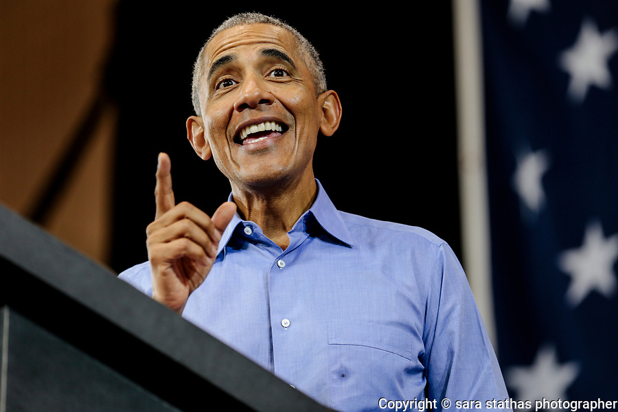 Former U.S. President Barack Obama speaks during a campaign rally for democratic candidates Tony Evers and U.S. Senator Tammy Baldwin at North Division High School in Milwaukee, Wisconsin, U.S., October 26, 2018.     REUTERS/Sara Stathas