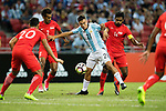 Paulo Dybala of Argentina (C) fights for the ball with Hariss Harun of Singapure (R) during the International Test match between Argentina and Singapore at National Stadium on June 13, 2017 in Singapore. Photo by Marcio Rodrigo Machado / Power Sport Images