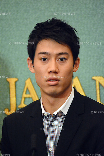 Kei Nishikori (JPN), November 18, 2014, Tokyo, Japan -  Tennis : Japan's professional tennis player Nishikori, answers questions during a triumphant homecoming news conference at the Japan National Press Club in Tokyo on Tuesday, November 18, 2014. Nishikori, ranked fifth, bowed out of the recent ATP World Tour Finals after losing to world No 1 Novak Djokovic. (Photo by Kaku Kurita/AFLO)