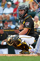 Pittsburgh Pirates catcher Reese McGuire (84) during a Spring Training game against the Toronto Blue Jays  on March 3, 2016 at McKechnie Field in Bradenton, Florida.  Toronto defeated Pittsburgh 10-8.  (Mike Janes/Four Seam Images)