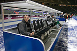 Visiting manager Carlos Augusto Carvalhal taking his seat on the bench before Hertha Berlin take on Sporting Lisbon in the Olympic Stadium in Berlin in a UEFA Europa League group match. Hertha won the match by 1 goal to nil to press to the knock-out round of the cup. 2009/10 was the the first year in which the Europa League replaced the UEFA Cup in European football competition.