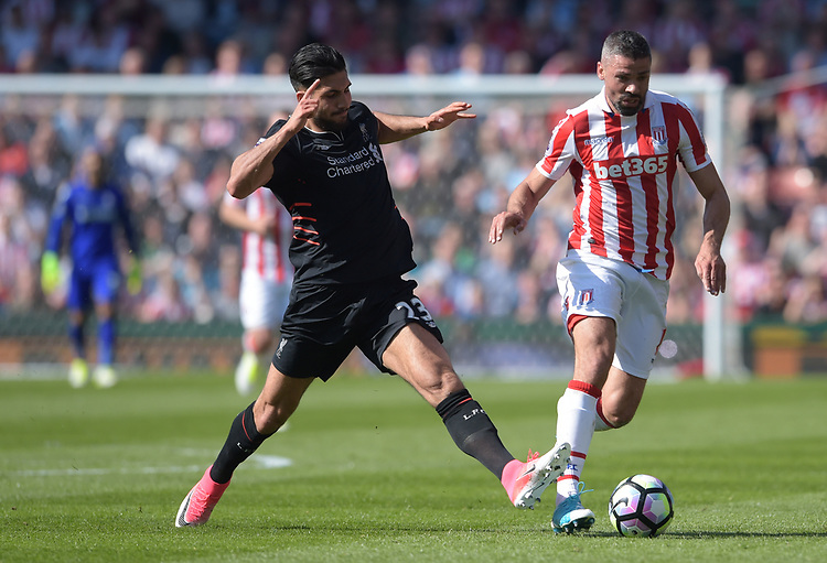 Stoke City's Jonathan Walters under pressure from Liverpool's Emre Can<br /> <br /> Photographer Terry Donnelly/CameraSport<br /> <br /> The Premier League - Stoke City v Liverpool - Saturday 8th April 2017 - bet365 Stadium - Stoke-on-Trent<br /> <br /> World Copyright &copy; 2017 CameraSport. All rights reserved. 43 Linden Ave. Countesthorpe. Leicester. England. LE8 5PG - Tel: +44 (0) 116 277 4147 - admin@camerasport.com - www.camerasport.com