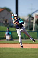 Lynchburg Hillcats third baseman Alexis Pantoja (6) throws to first base during the first game of a doubleheader against the Frederick Keys on June 12, 2018 at Nymeo Field at Harry Grove Stadium in Frederick, Maryland.  Frederick defeated Lynchburg 2-1.  (Mike Janes/Four Seam Images)