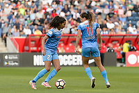 Bridgeview, IL - Sunday June 25, 2017: Christen Press, Sofia Huerta during a regular season National Women's Soccer League (NWSL) match between the Chicago Red Stars and Sky Blue FC at Toyota Park. The Red Stars won 2-1.