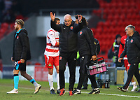 Fleetwood Town Manager Uwe Rosler applauds the fans after the Sky Bet League 1 match between Doncaster Rovers and Fleetwood Town at the Keepmoat Stadium, Doncaster, England on 17 February 2018. Photo by Leila Coker / PRiME Media Images.