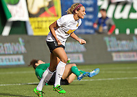 Portland, Oregon - Sunday October 2, 2016: Western New York Flash forward Lynn Williams (9) celebrates a goal during a semi final match of the National Women's Soccer League (NWSL) at Providence Park.