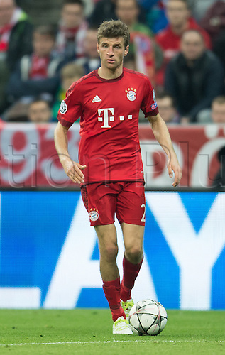 05.04.2016. Munich, Germany.  Munich's Thomas Müller in action during the Champions League quarter finals first leg soccer match between Bayern Munich and S.L. Benfica at Allianz Arena