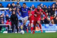 1st February 2020; St Andrews, Birmingham, Midlands, England; English Championship Football, Birmingham City versus Nottingham Forest; Jake Clarke-Salter of Birmingham City passes the ball back to his keeper pursued by Lewis Grabban of Nottingham Forest