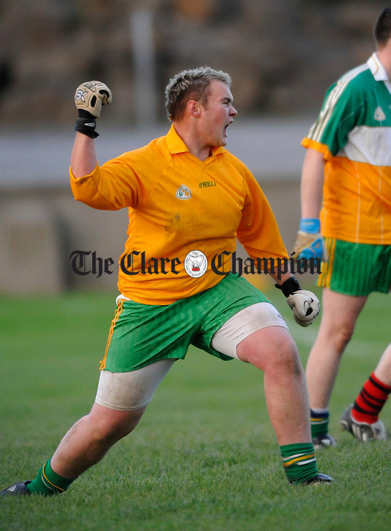 Kildysart Coolmeen goalie Pa Mc Mahon cleebrates a late score against Clondegad, but ultimately it wasnt enough, against Clondegad during their U-21 b county football final at Cooraclare. Photograph by John Kelly.