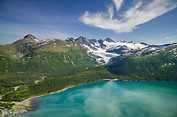 Aerial of Pigot glacier, Pigot Bay, Chugach mountains, western Prince William Sound, Alaska