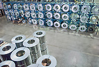 Sheeet metal rolls, raw material at metal fabrication factory