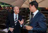 Austria, Kitzbuhel, Juli 15, 2015, Tennis, Davis Cup, Dutch team, Official dinner, Jesse Huta Galung and Martin Koek (L)<br /> Photo: Tennisimages/Henk Koster