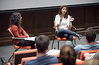 From Oxy to Oscar: Pixar's Lindsey Collins '94<br /> Allison de Fren has a career chat with 1994 diplomacy and world affairs major Lindsey Collins, an Academy Award-winning producer of 2008's WALL-E. An 18-year veteran of Pixar, she is currently at work on the Finding Nemo sequel, Finding Dory (2016). Oct. 29, 2015 in Choi Auditorium with lunch after in the Hameetman Career Center.<br /> (Photo by Marc Campos, Occidental College Photographer)