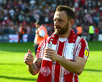 Lincoln City's Neal Eardley applauds the fans at the final whistle<br /> <br /> Photographer Andrew Vaughan/CameraSport<br /> <br /> The EFL Sky Bet League Two - Lincoln City v Tranmere Rovers - Monday 22nd April 2019 - Sincil Bank - Lincoln<br /> <br /> World Copyright © 2019 CameraSport. All rights reserved. 43 Linden Ave. Countesthorpe. Leicester. England. LE8 5PG - Tel: +44 (0) 116 277 4147 - admin@camerasport.com - www.camerasport.com