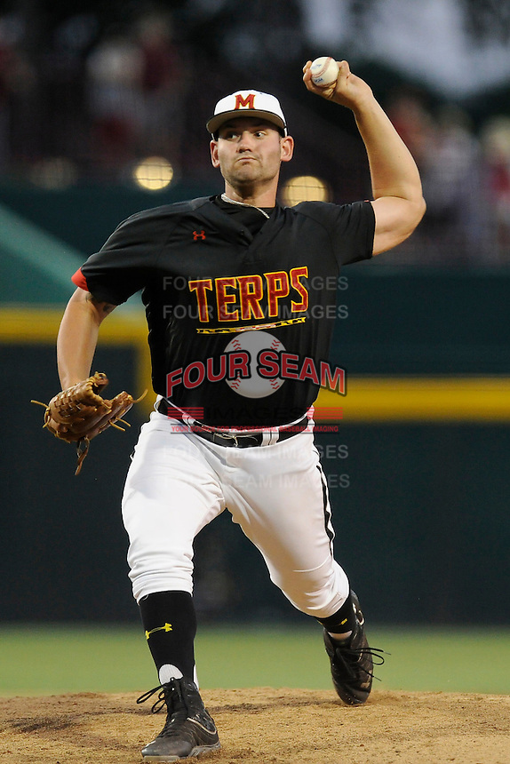 Relief pitcher Tayler Stiles (25) of the Maryland Terrapins in an NCAA Division I Baseball Regional Tournament game against the South Carolina Gamecocks on Sunday, June 1, 2014, at Carolina Stadium in Columbia, South Carolina. Maryland won, 10-1, to win the tournament. (Tom Priddy/Four Seam Images)