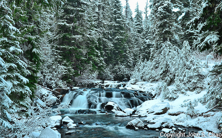 Upper Paradise River lightly blanketed by early winter snow in Mount Rainier National Park, Washington State.