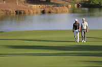Thorbjorn Olesen (DEN) and Rory McIlroy (NIR) on the 18th fairway during the 1st round of the DP World Tour Championship, Jumeirah Golf Estates, Dubai, United Arab Emirates. 15/11/2018<br /> Picture: Golffile | Fran Caffrey<br /> <br /> <br /> All photo usage must carry mandatory copyright credit (&copy; Golffile | Fran Caffrey)