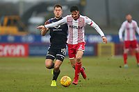 Jonathan Smith of Stevenage and James Collins of Luton Town during Stevenage vs Luton Town, Sky Bet EFL League 2 Football at the Lamex Stadium on 10th February 2018