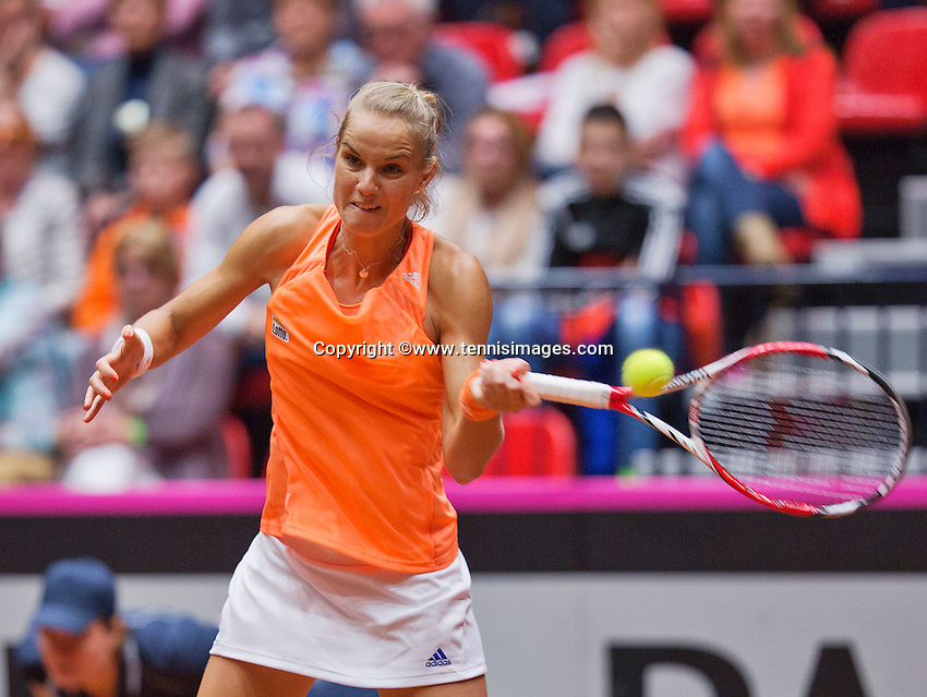 Netherlands, Den Bosch, April 18 2015 Maaspoort, Fedcup Netherlands-Australia,  Arantxa Rus (NED)  <br /> Photo: Tennisimages/Henk Koster
