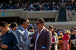 DEL MAR, CA  SEPTEMBER 1:  A jubilant owner, Kaleem Shah, congratulates trainer Simon Callaghan after Bellafina  wins the Del Mar Debutante (Grade 1) on September 1, 2018, at Del Mar Thoroughbred Club in Del Mar, CA.(Photo by Casey Phillips/Eclipse Sportswire/Getty ImagesGetty Images
