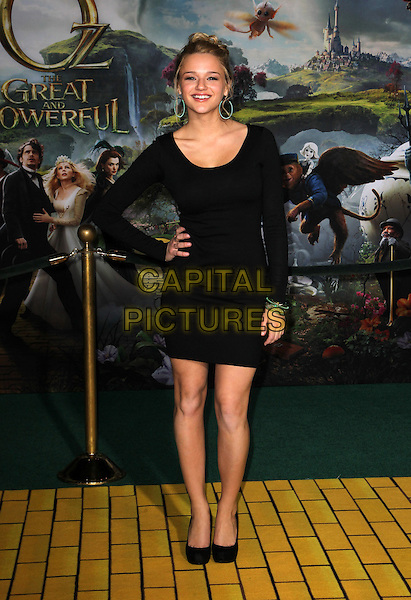 "Hunter King.""Oz the Great and Powerful"" Los Angeles Premiere held at the El Capitan Theatre, Hollywood, California, USA..February 13th, 2013 .full length black hand on hip  dress  .CAP/ADM/KB.©Kevan Brooks/AdMedia/Capital Pictures."