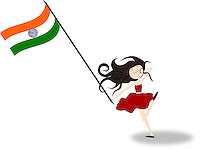 Happy girl running holding Indian national flag in hand - stock vector.<br />