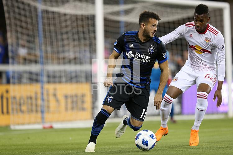 San Jose, CA - Saturday October 06, 2018: Vako, Michael Amir Murillo during a Major League Soccer (MLS) match between the San Jose Earthquakes and the New York Red Bulls at Avaya Stadium.