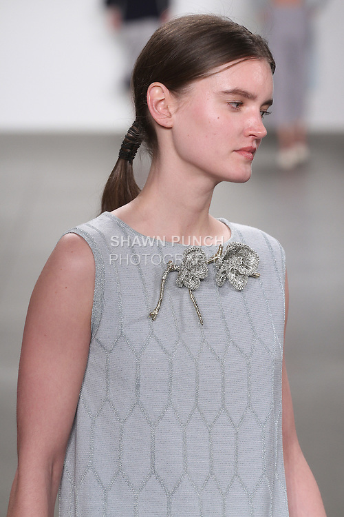 Hair styling detail by Cutler for the Ruiping Guo Fall 2016 collection, at the JD Fashion runway show in Pier 59 Studios for NYFW: The Shows, during New York Fashion Week Fall 2016.