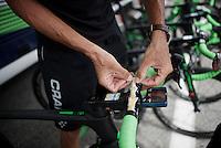 Ruben Plaza (ESP/Orica-BikeExchange) sticking today's profile to his handlebars<br /> <br /> Stage 19:  Albertville &rsaquo; Saint-Gervais /Mont Blanc (146km)<br /> 103rd Tour de France 2016