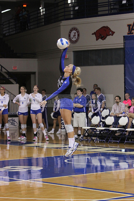 Senior Libero Stephanie Klefot (11) serves during the University of Kentucky vs. Texas A&M volleyball match at Memorial Coliseum in Lexington, Ky., on Sunday, October 14, 2012. Photo by Jared Glover | Staff