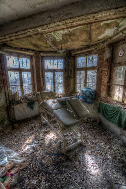 An old hotel in the Black Forest with decaying room