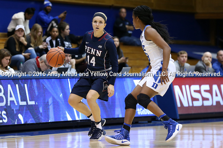 13 November 2016: Penn's Beth Brzozowski (14) and Duke's Kyra Lambert (right). The Duke University Blue Devils hosted the University of Pennsylvania Quakers at Cameron Indoor Stadium in Durham, North Carolina in a 2016-17 NCAA Division I Women's Basketball game. Duke defeated Penn 68-55.