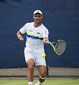 June 11th 2017, Nottingham, England; ATP Aegon Nottingham Open Tennis Tournament day 2;  Forehand from Alejandro Falla of Columbia who is defeated by Lloyd Glasspool of Great Britain in three sets