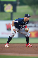 Lakewood BlueClaws third baseman Jan Hernandez (3) on defense against the Kannapolis Intimidators at Kannapolis Intimidators Stadium on May 9, 2016 in Kannapolis, North Carolina.  The BlueClaws defeated the Intimidators 4-1.  (Brian Westerholt/Four Seam Images)