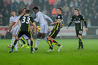 Sunday  14th   December 2014 <br /> Pictured: Wilfried Bony of Swansea City  battles for the ball <br /> Re: Barclays Premier League Swansea City v Tottenham Hotspur  at the Liberty Stadium, Swansea, Wales,UK